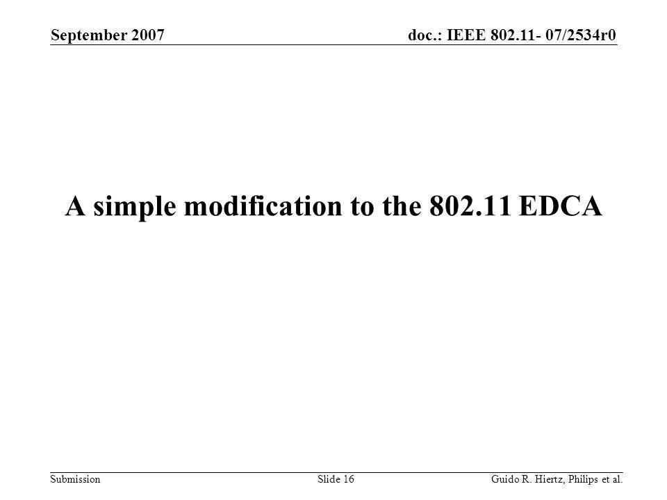 doc.: IEEE 802.11- 07/2534r0 Submission A simple modification to the 802.11 EDCA September 2007 Guido R.
