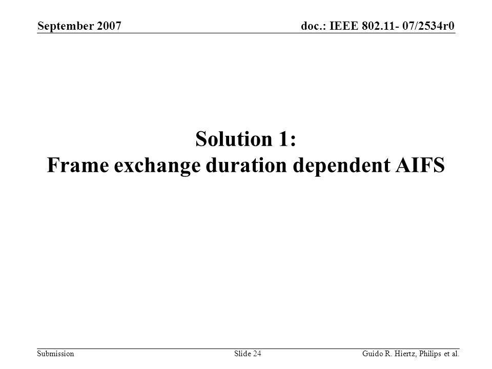 doc.: IEEE 802.11- 07/2534r0 Submission Solution 1: Frame exchange duration dependent AIFS September 2007 Guido R.