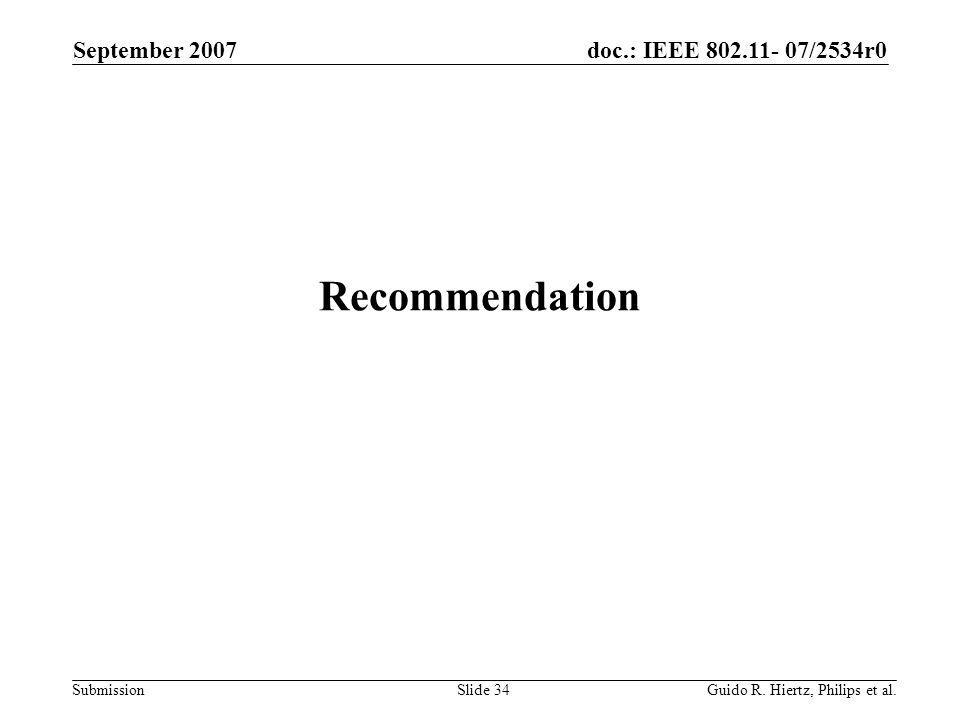 doc.: IEEE 802.11- 07/2534r0 Submission Recommendation September 2007 Guido R.