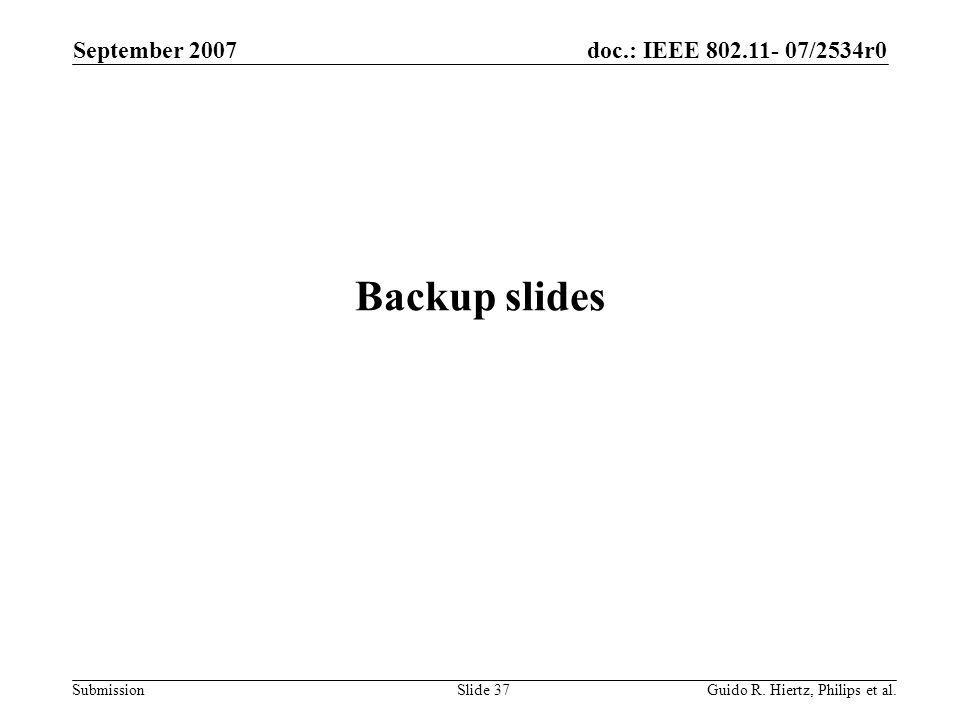 doc.: IEEE 802.11- 07/2534r0 Submission Backup slides September 2007 Guido R.