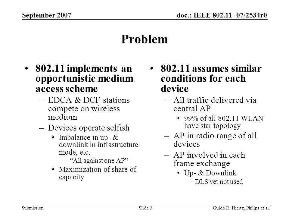 doc.: IEEE 802.11- 07/2534r0 Submission Problem 802.11 implements an opportunistic medium access scheme –EDCA & DCF stations compete on wireless medium –Devices operate selfish Imbalance in up- & downlink in infrastructure mode, etc.
