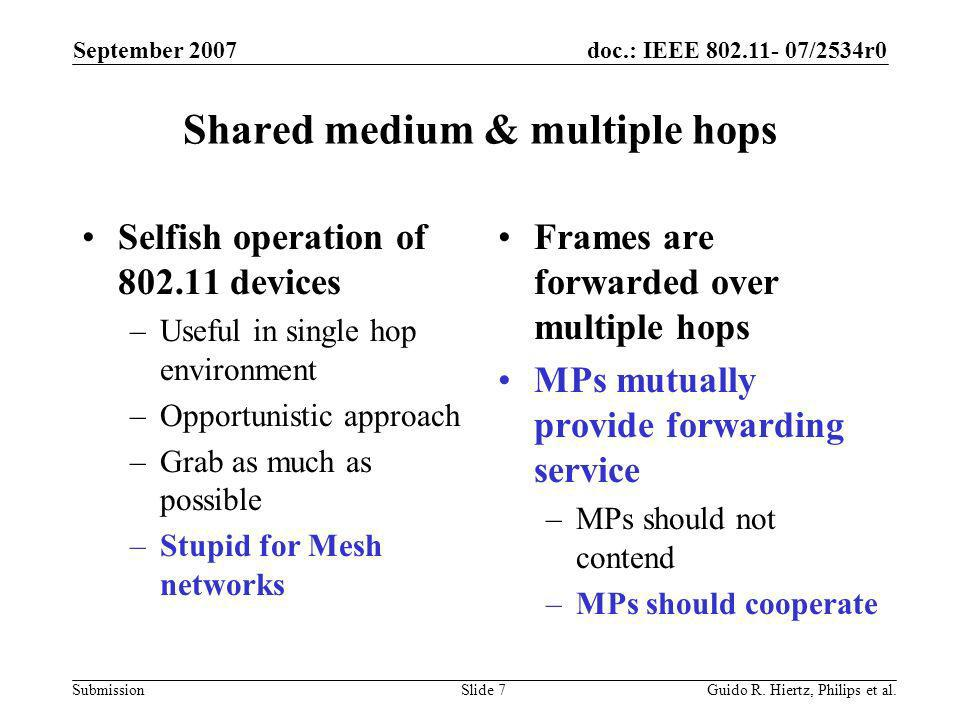 doc.: IEEE 802.11- 07/2534r0 Submission Shared medium & multiple hops Selfish operation of 802.11 devices –Useful in single hop environment –Opportunistic approach –Grab as much as possible –Stupid for Mesh networks Frames are forwarded over multiple hops MPs mutually provide forwarding service –MPs should not contend –MPs should cooperate September 2007 Guido R.