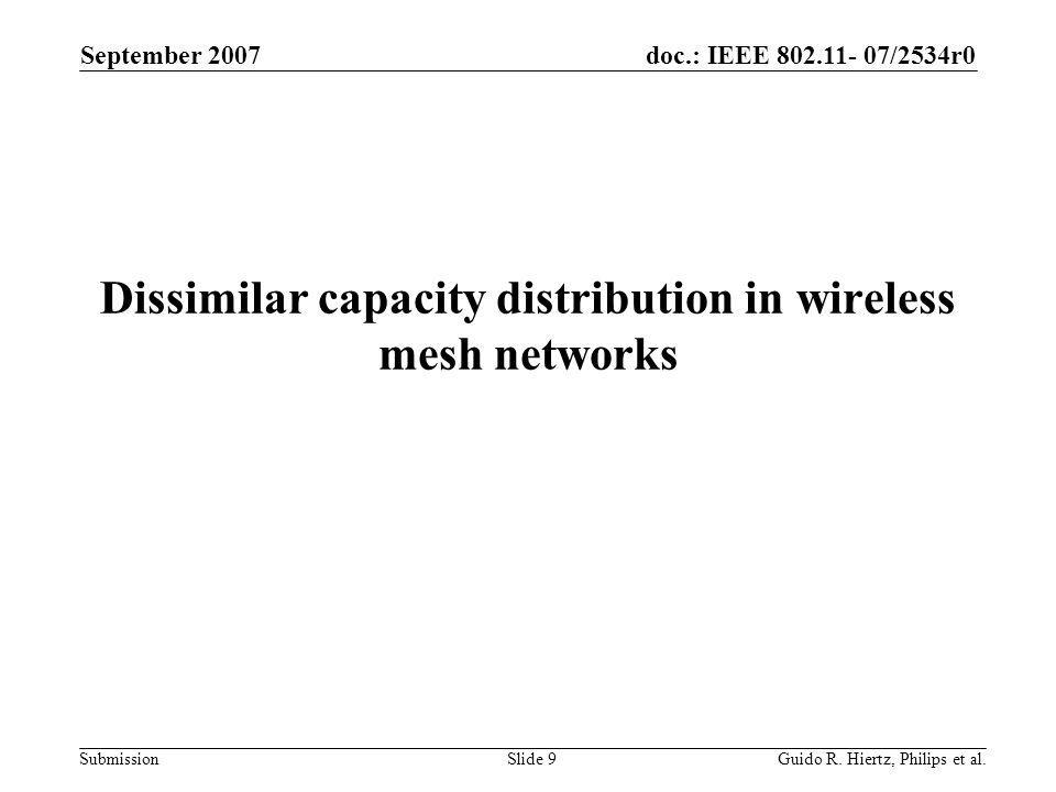 doc.: IEEE 802.11- 07/2534r0 Submission Dissimilar capacity distribution in wireless mesh networks September 2007 Guido R.