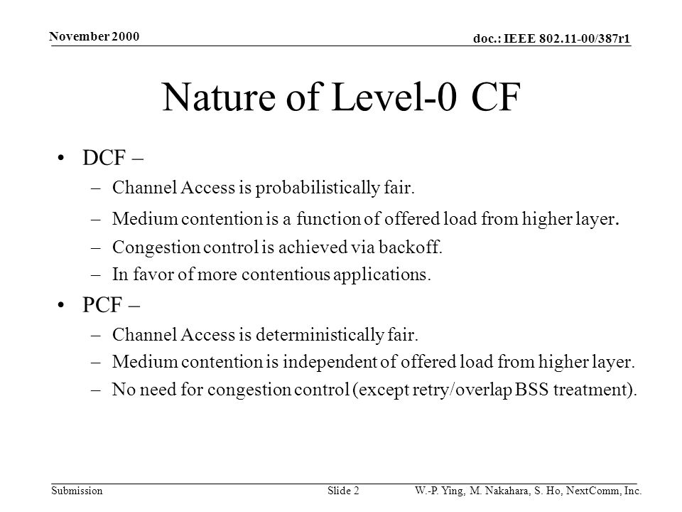 doc.: IEEE 802.11-00/387r1 Submission November 2000 W.-P.