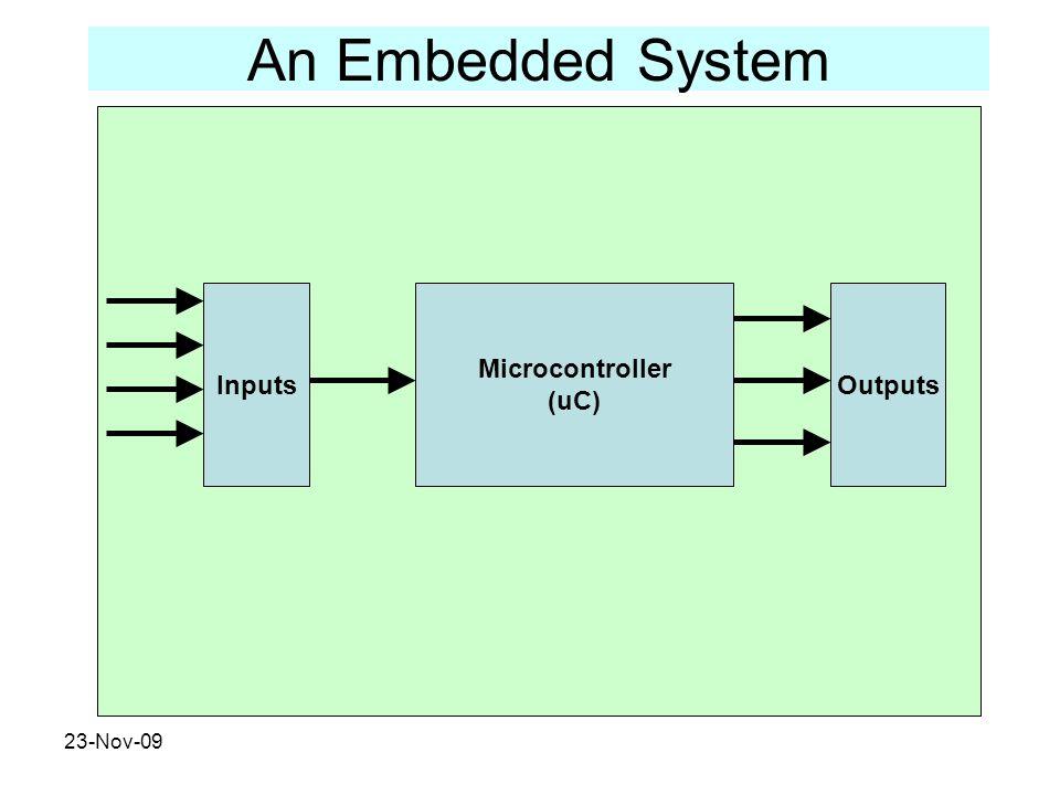 23-Nov-09 An Embedded System Microcontroller (uC) OutputsInputs