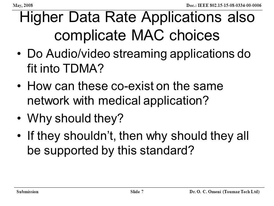 Doc.: IEEE 802.15-15-08-0334-00-0006 May, 2008 SubmissionSlide 7 Dr. O. C. Omeni (Toumaz Tech Ltd) Higher Data Rate Applications also complicate MAC c