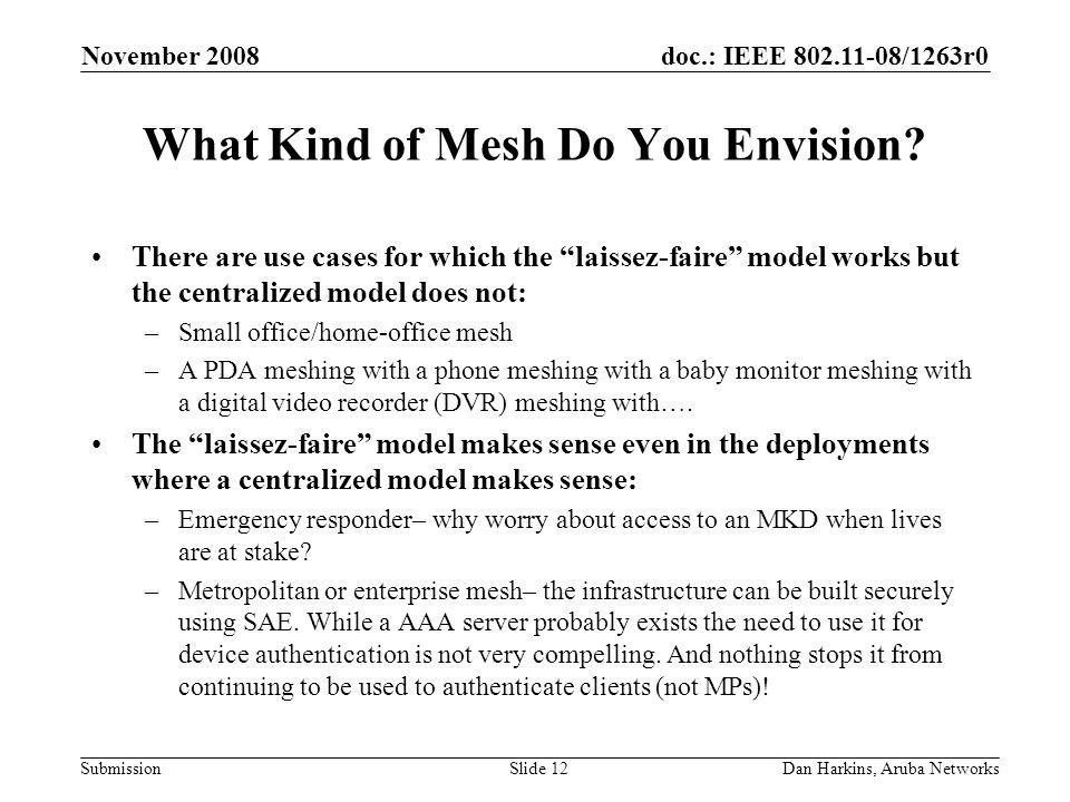 doc.: IEEE /1263r0 Submission November 2008 Dan Harkins, Aruba NetworksSlide 12 What Kind of Mesh Do You Envision.