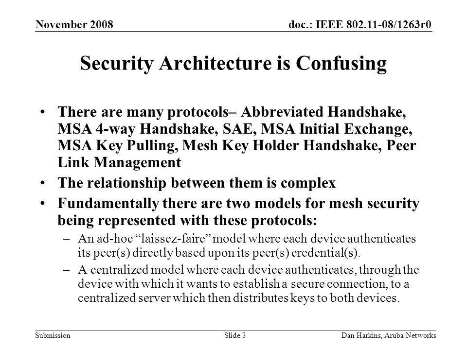 doc.: IEEE /1263r0 Submission November 2008 Dan Harkins, Aruba NetworksSlide 3 Security Architecture is Confusing There are many protocols– Abbreviated Handshake, MSA 4-way Handshake, SAE, MSA Initial Exchange, MSA Key Pulling, Mesh Key Holder Handshake, Peer Link Management The relationship between them is complex Fundamentally there are two models for mesh security being represented with these protocols: –An ad-hoc laissez-faire model where each device authenticates its peer(s) directly based upon its peer(s) credential(s).