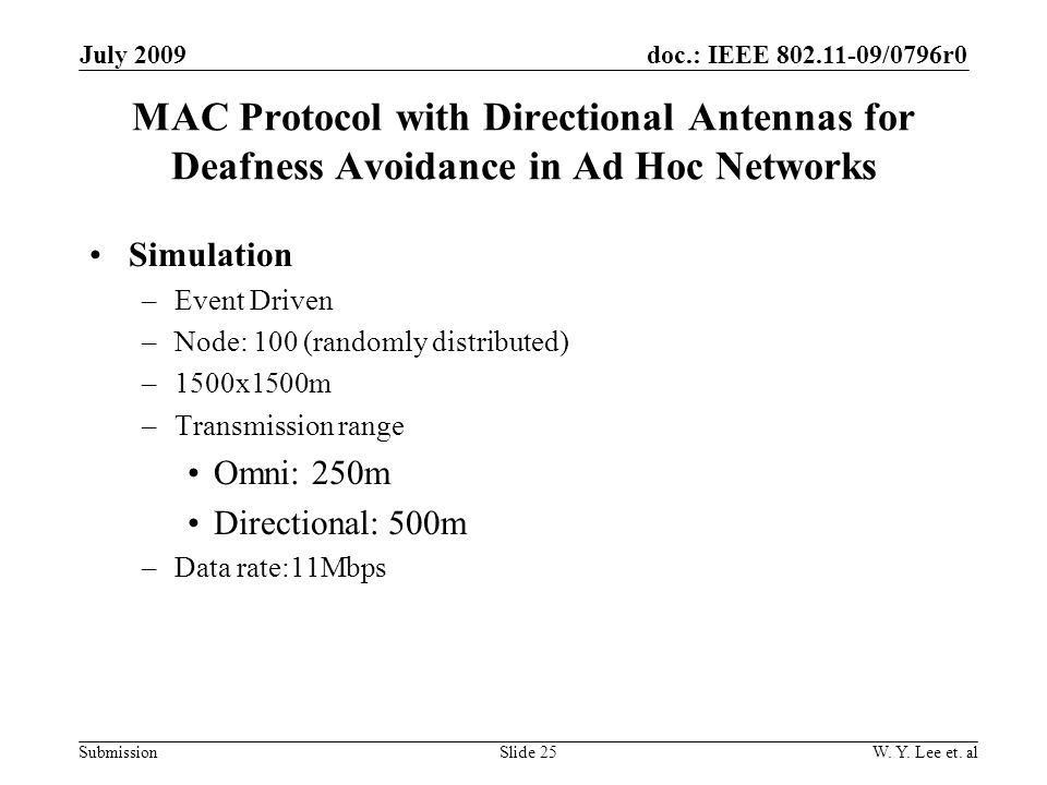 doc.: IEEE 802.11-09/0796r0 SubmissionSlide 25 July 2009 W.