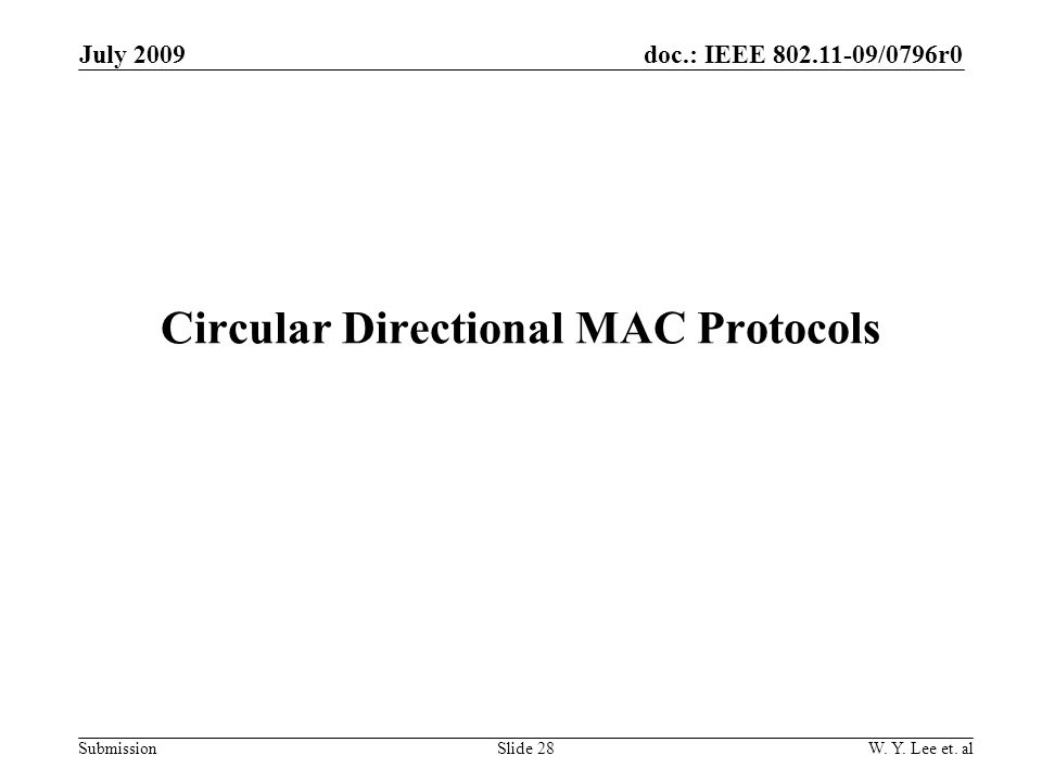 doc.: IEEE 802.11-09/0796r0 Submission Circular Directional MAC Protocols Slide 28W.