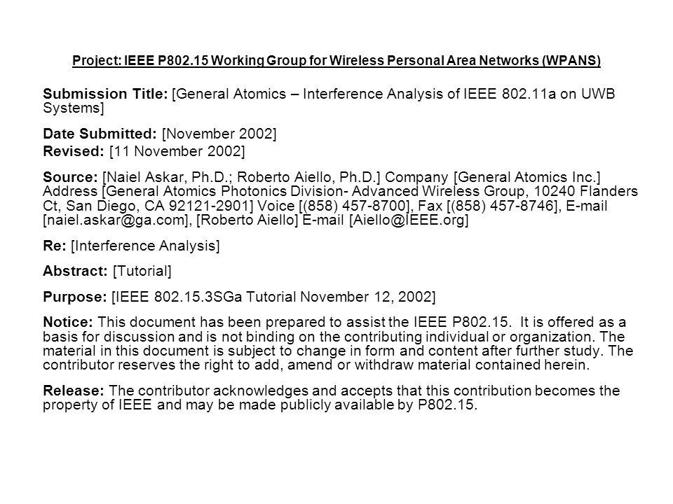 doc.: IEEE 802.15-02/441r1 Submission November 2002 General Atomics-Naiel Askar & Roberto AielloSlide 22 Tx peak power calculation Tx peak power = FCC limit * BW / Duty Cycle Duty Cycle = PRF * Pulse width BW ~= 1/Pulse width Tx Peak power = FCC Limit *BW^2/ PRF