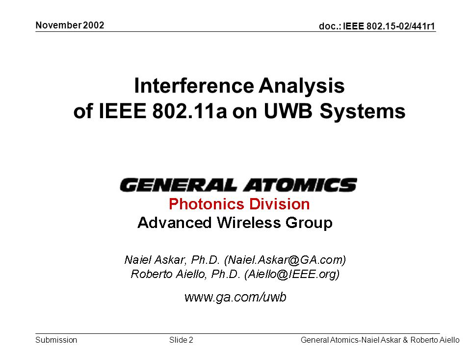 doc.: IEEE /441r1 Submission November 2002 General Atomics-Naiel Askar & Roberto AielloSlide 2 Interference Analysis of IEEE a on UWB Systems