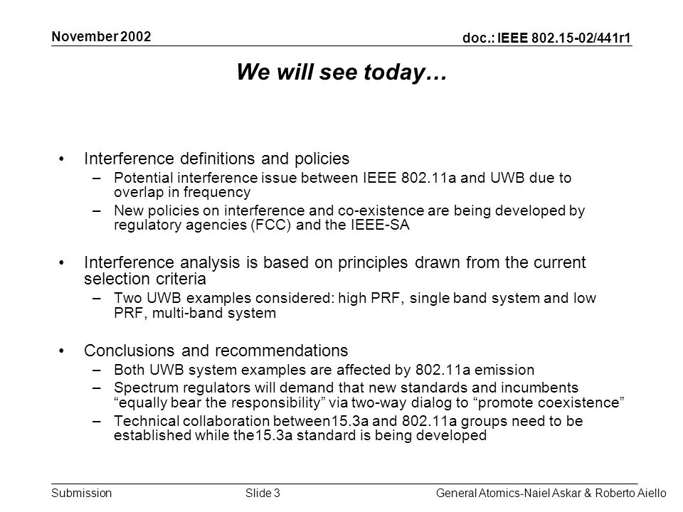 doc.: IEEE 802.15-02/441r1 Submission November 2002 General Atomics-Naiel Askar & Roberto AielloSlide 4 *Source: FCC 02-48, UWB Report & Order *Source: IEEE P802.11a Standard Potential interference- UWB & 802.11a overlap frequencies