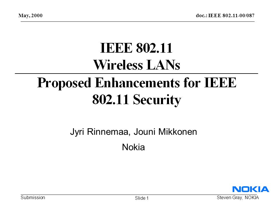 doc.: IEEE 802.11-00/087 Submission May, 2000 Steven Gray, NOKIA Jyri Rinnemaa, Jouni Mikkonen Nokia Slide 1