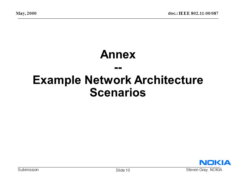 doc.: IEEE /087 Submission May, 2000 Steven Gray, NOKIA Annex -- Example Network Architecture Scenarios Slide 10