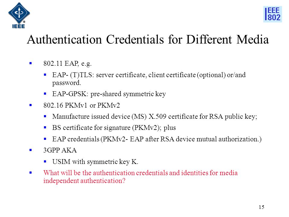 15 Authentication Credentials for Different Media EAP, e.g.