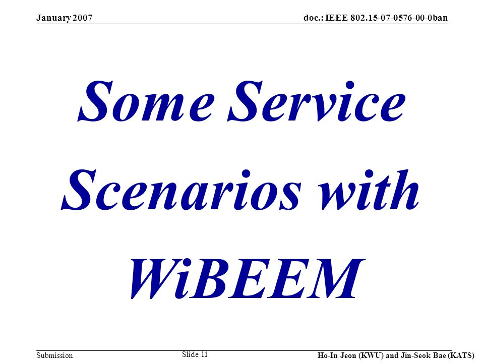 doc.: IEEE 802.15-07-0576-00-0ban Submission January 2007 Ho-In Jeon (KWU) and Jin-Seok Bae (KATS) Slide 11 Some Service Scenarios with WiBEEM