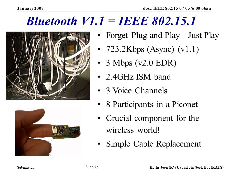 doc.: IEEE 802.15-07-0576-00-0ban Submission January 2007 Ho-In Jeon (KWU) and Jin-Seok Bae (KATS) Slide 32 Bluetooth V1.1 = IEEE 802.15.1 Forget Plug and Play - Just Play 723.2Kbps (Async) (v1.1) 3 Mbps (v2.0 EDR) 2.4GHz ISM band 3 Voice Channels 8 Participants in a Piconet Crucial component for the wireless world.