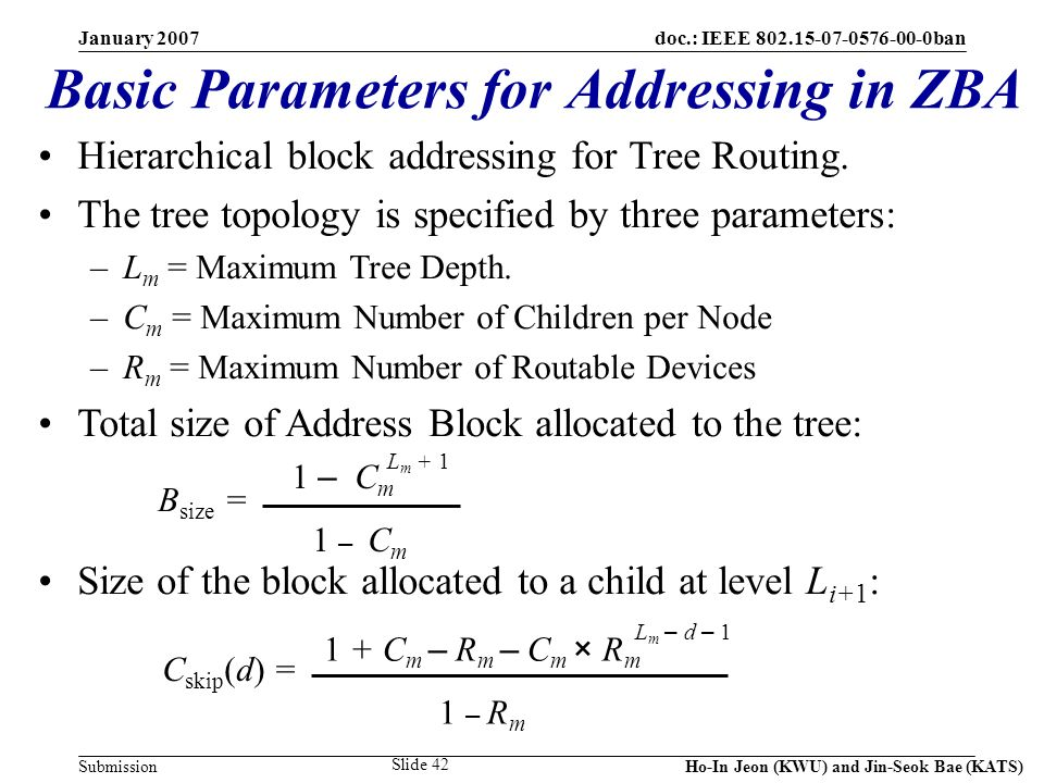 doc.: IEEE 802.15-07-0576-00-0ban Submission January 2007 Ho-In Jeon (KWU) and Jin-Seok Bae (KATS) Slide 42 Hierarchical block addressing for Tree Routing.