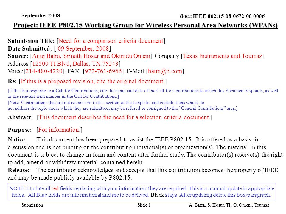 doc.: IEEE Submission September 2008 A.