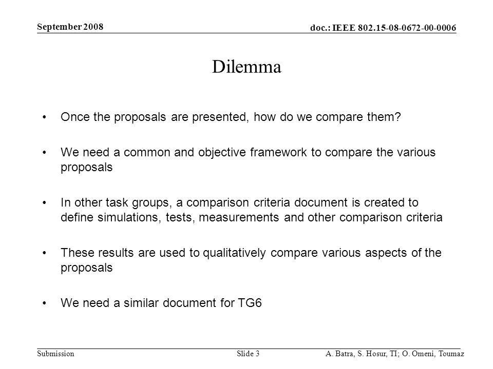 doc.: IEEE 802.15-08-0672-00-0006 Submission September 2008 A. Batra, S. Hosur, TI; O. Omeni, ToumazSlide 3 Dilemma Once the proposals are presented,