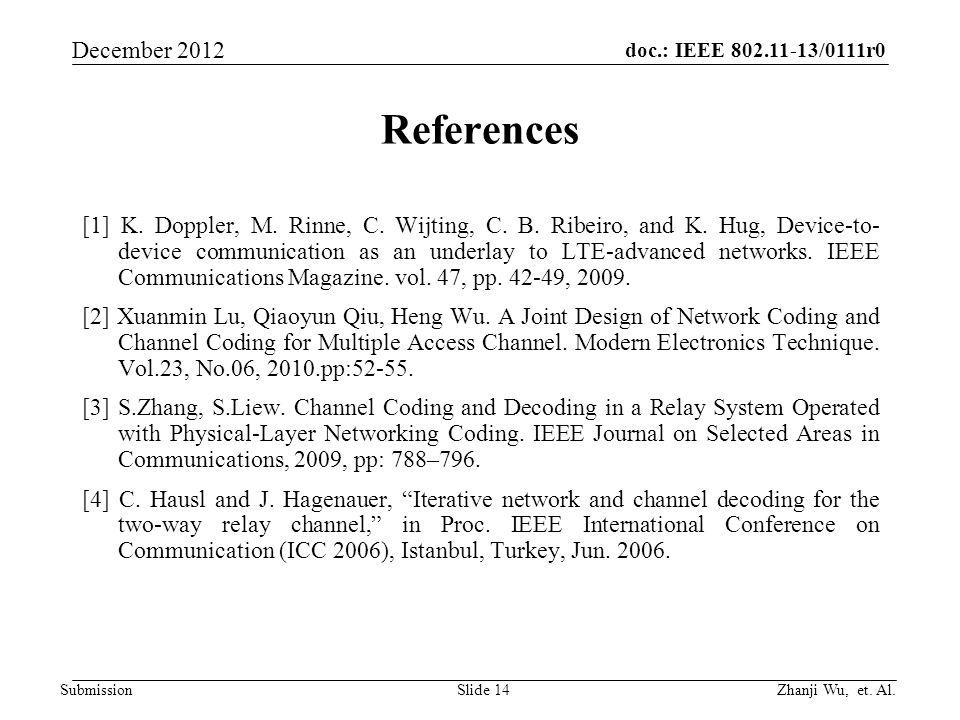 doc.: IEEE 802.11-13/0111r0 Zhanji Wu, et. Al. December 2012 Submission References [1] K. Doppler, M. Rinne, C. Wijting, C. B. Ribeiro, and K. Hug, De