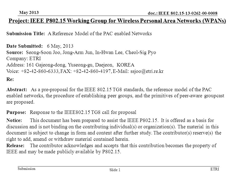 doc.: IEEE 802.15-13-0262-00-0008 Submission ETRI May 2013 Slide 1 Project: IEEE P802.15 Working Group for Wireless Personal Area Networks (WPANs) Sub