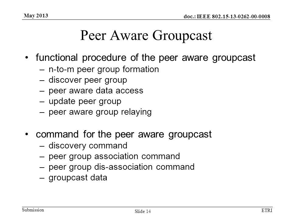 doc.: IEEE 802.15-13-0262-00-0008 Submission ETRI May 2013 Peer Aware Groupcast functional procedure of the peer aware groupcast –n-to-m peer group fo