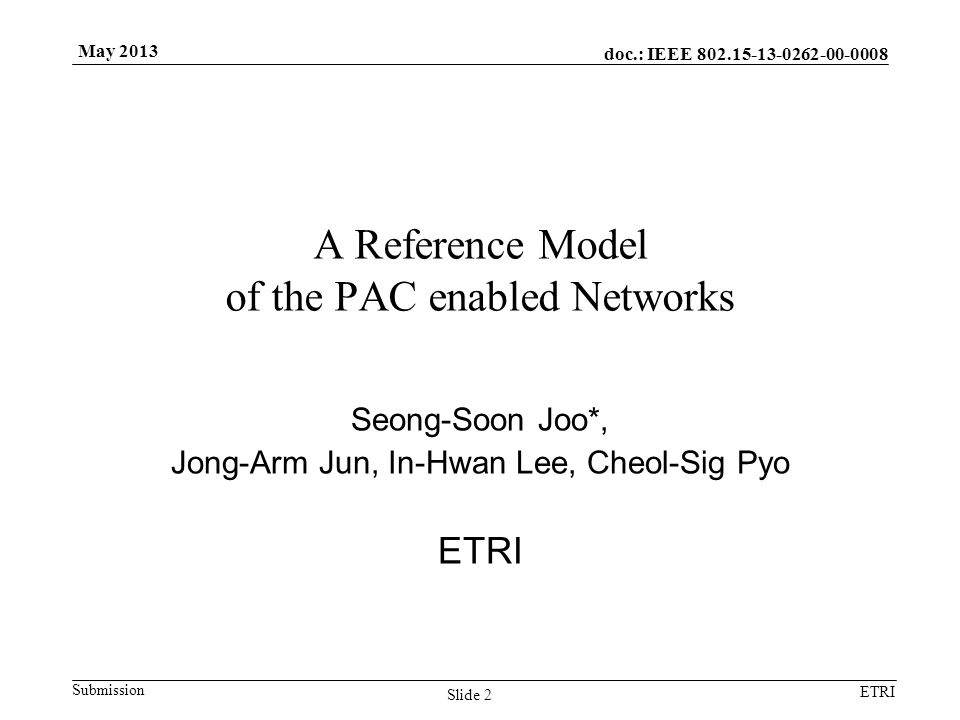 doc.: IEEE 802.15-13-0262-00-0008 Submission ETRI May 2013 Slide 2 A Reference Model of the PAC enabled Networks Seong-Soon Joo*, Jong-Arm Jun, In-Hwa