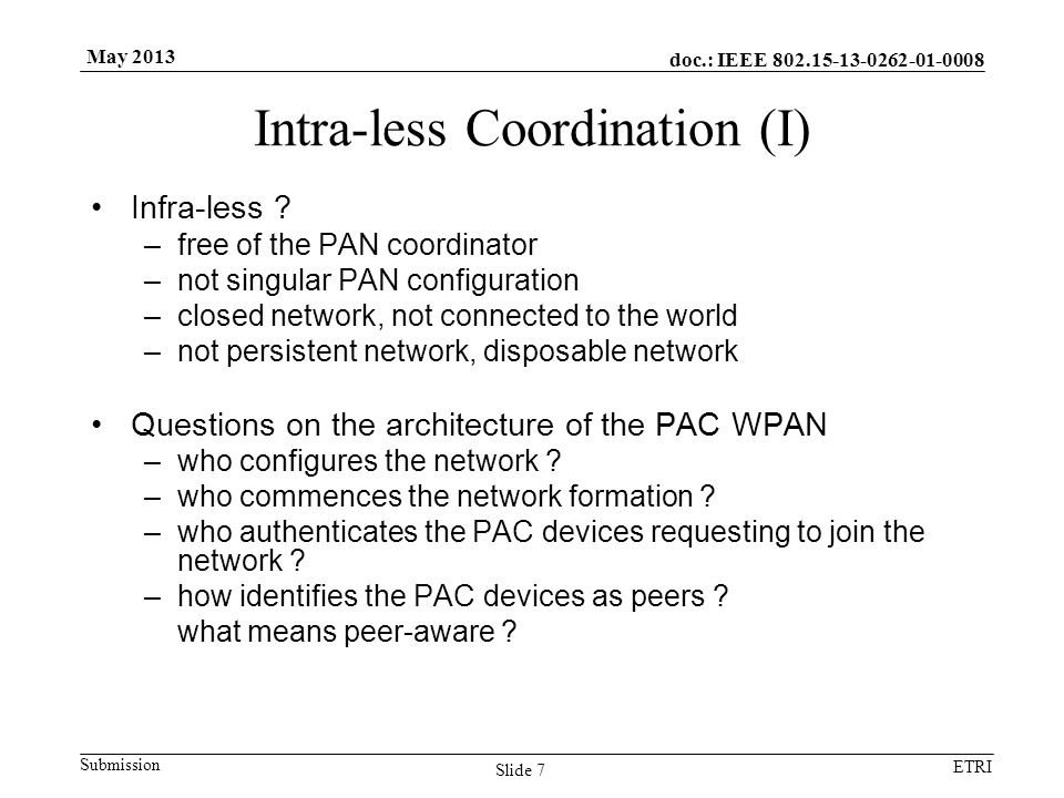 doc.: IEEE Submission ETRI May 2013 Intra-less Coordination (I) Infra-less .