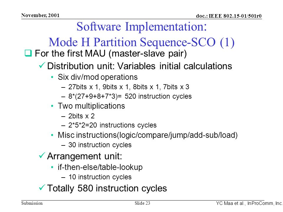 Integrated Programmable Communications, Inc. November, 2001 doc.: IEEE 802.15-01/501r0 Submission Slide 23 YC Maa et al., InProComm, Inc. Software Imp