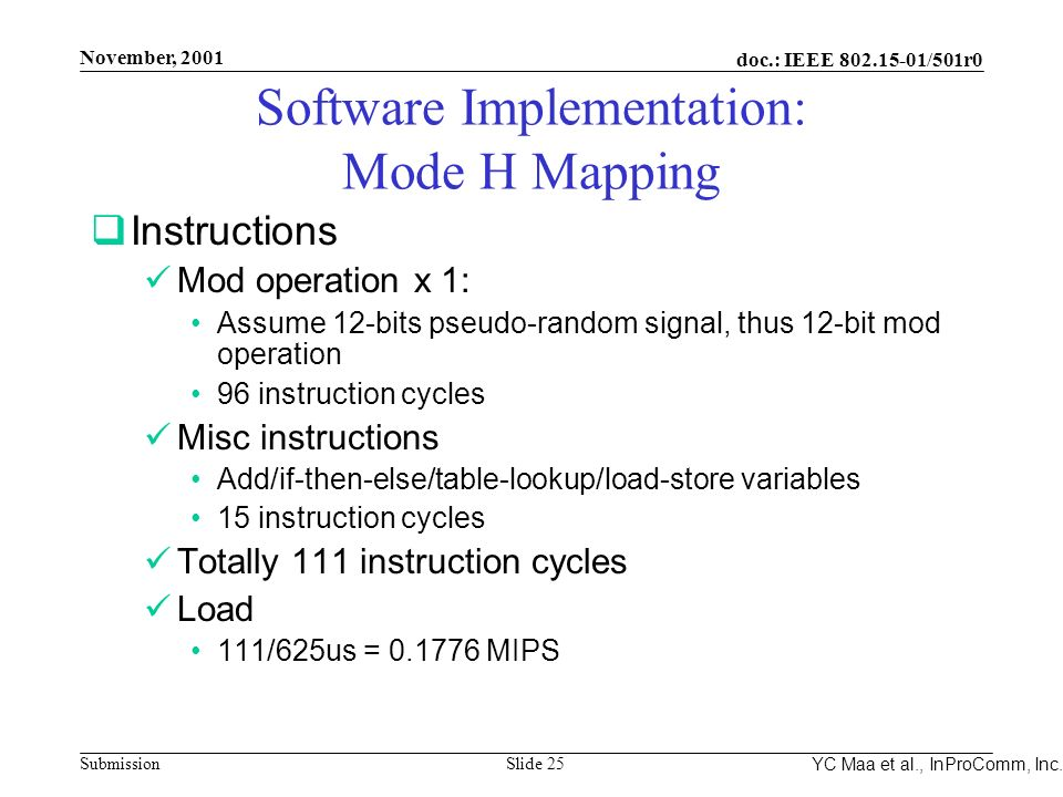 Integrated Programmable Communications, Inc. November, 2001 doc.: IEEE 802.15-01/501r0 Submission Slide 25 YC Maa et al., InProComm, Inc. Software Imp