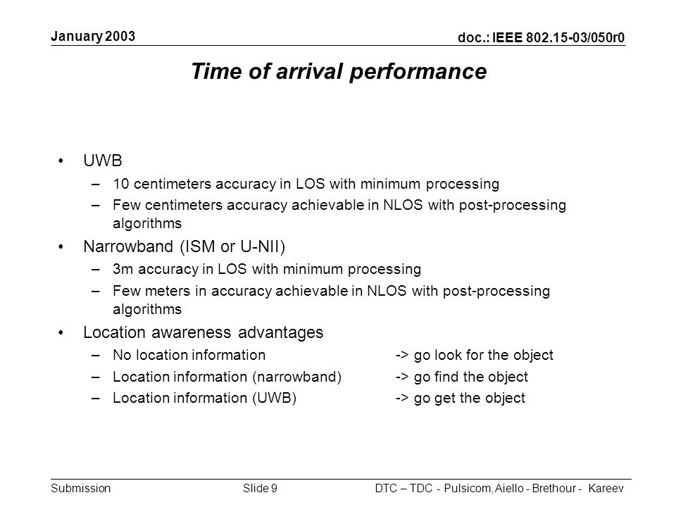 doc.: IEEE 802.15-03/050r0 Submission January 2003 DTC – TDC - Pulsicom, Aiello - Brethour - KareevSlide 9 Time of arrival performance UWB –10 centime