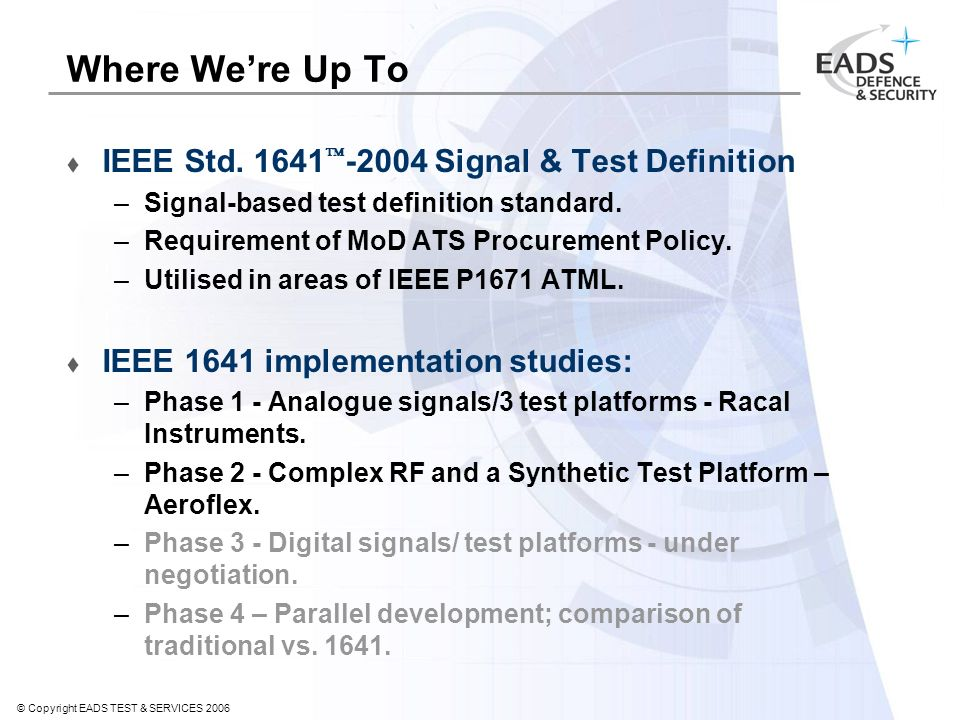 © Copyright EADS TEST & SERVICES 2006 Where Were Up To IEEE Std.