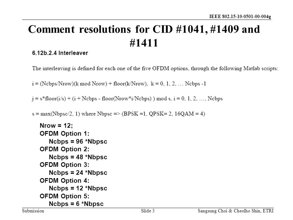 Submission Sangsung Choi & Cheolho Shin, ETRI IEEE 802.15-10-0501-00-004g Comment resolutions for CID #1041, #1409 and #1411 Slide 3 Nrow = 12; OFDM Option 1: Ncbps = 96 *Nbpsc OFDM Option 2: Ncbps = 48 *Nbpsc OFDM Option 3: Ncbps = 24 *Nbpsc OFDM Option 4: Ncbps = 12 *Nbpsc OFDM Option 5: Ncbps = 6 *Nbpsc