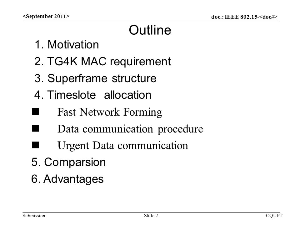 doc.: IEEE Submission CQUPTSlide 2 Outline 1.