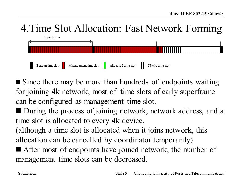 doc.: IEEE SubmissionChongqing University of Posts and TelecommunicationsSlide 9 4.Time Slot Allocation: Fast Network Forming Since there may be more than hundreds of endpoints waiting for joining 4k network, most of time slots of early superframe can be configured as management time slot.