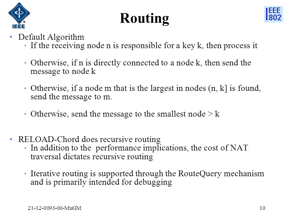 Routing Default Algorithm If the receiving node n is responsible for a key k, then process it Otherwise, if n is directly connected to a node k, then send the message to node k Otherwise, if a node m that is the largest in nodes (n, k] is found, send the message to m.