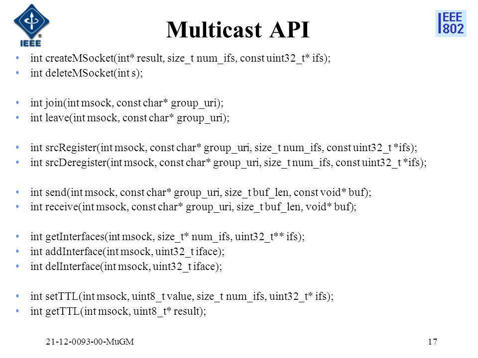 Multicast API int createMSocket(int* result, size_t num_ifs, const uint32_t* ifs); int deleteMSocket(int s); int join(int msock, const char* group_uri