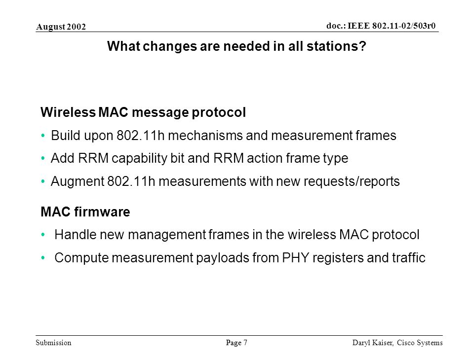 Submission Page 7 August 2002 doc.: IEEE 802.11-02/503r0 Daryl Kaiser, Cisco Systems What changes are needed in all stations.