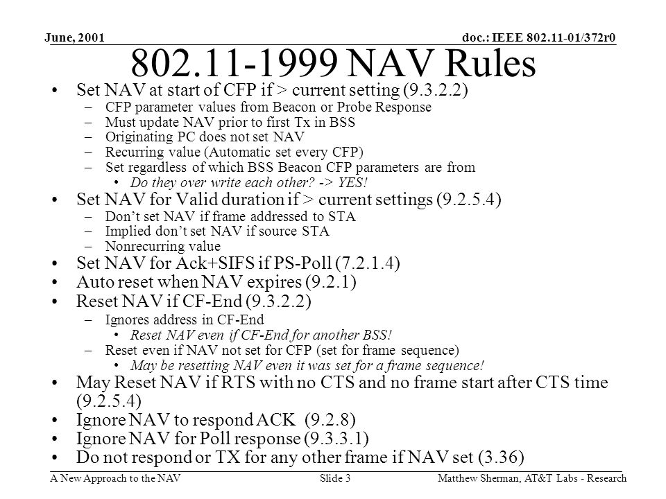 doc.: IEEE 802.11-01/372r0 A New Approach to the NAV June, 2001 Matthew Sherman, AT&T Labs - ResearchSlide 3 802.11-1999 NAV Rules Set NAV at start of
