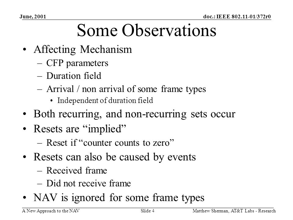 doc.: IEEE 802.11-01/372r0 A New Approach to the NAV June, 2001 Matthew Sherman, AT&T Labs - ResearchSlide 4 Some Observations Affecting Mechanism –CFP parameters –Duration field –Arrival / non arrival of some frame types Independent of duration field Both recurring, and non-recurring sets occur Resets are implied –Reset if counter counts to zero Resets can also be caused by events –Received frame –Did not receive frame NAV is ignored for some frame types