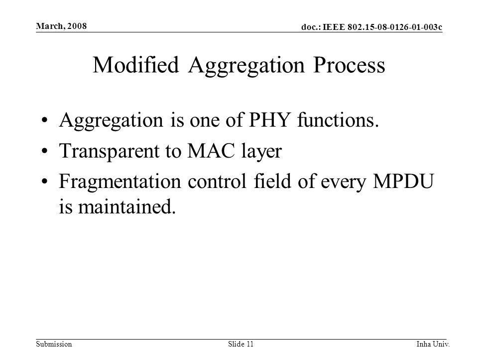 doc.: IEEE 802.15-08-0126-01-003c Submission March, 2008 Inha Univ.Slide 11 Modified Aggregation Process Aggregation is one of PHY functions.