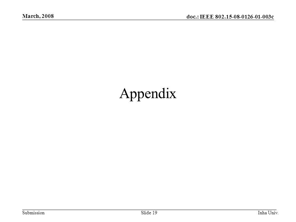 doc.: IEEE 802.15-08-0126-01-003c Submission March, 2008 Inha Univ.Slide 19 Appendix