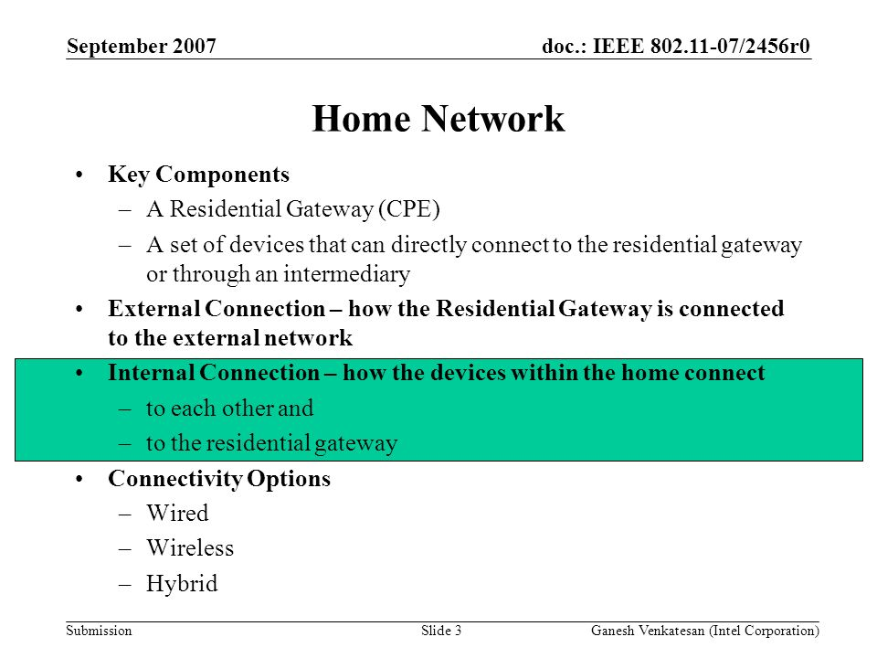doc.: IEEE 802.11-07/2456r0 Submission Home Network Key Components –A Residential Gateway (CPE) –A set of devices that can directly connect to the residential gateway or through an intermediary External Connection – how the Residential Gateway is connected to the external network Internal Connection – how the devices within the home connect –to each other and –to the residential gateway Connectivity Options –Wired –Wireless –Hybrid September 2007 Ganesh Venkatesan (Intel Corporation)Slide 3