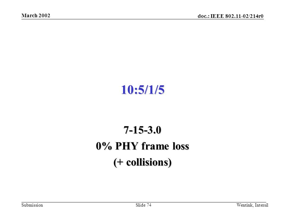 doc.: IEEE 802.11-02/214r0 Submission March 2002 Wentink, IntersilSlide 74 10:5/1/5 7-15-3.0 0% PHY frame loss (+ collisions)