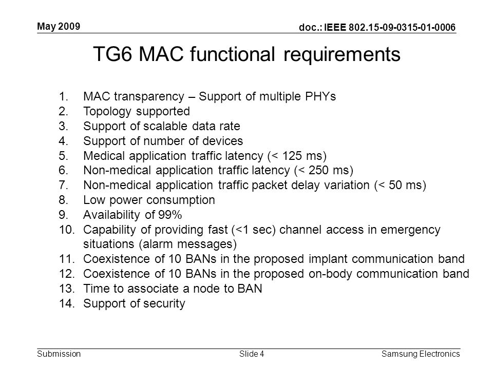 doc.: IEEE Submission May 2009 Samsung Electronics Slide 4 TG6 MAC functional requirements 1.MAC transparency – Support of multiple PHYs 2.Topology supported 3.Support of scalable data rate 4.Support of number of devices 5.Medical application traffic latency (< 125 ms) 6.Non-medical application traffic latency (< 250 ms) 7.Non-medical application traffic packet delay variation (< 50 ms) 8.Low power consumption 9.Availability of 99% 10.Capability of providing fast (<1 sec) channel access in emergency situations (alarm messages) 11.Coexistence of 10 BANs in the proposed implant communication band 12.Coexistence of 10 BANs in the proposed on-body communication band 13.Time to associate a node to BAN 14.Support of security