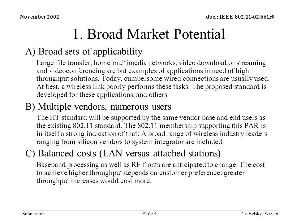 doc.: IEEE 802.11-02/661r0 Submission November 2002 Ziv Belsky, WavionSlide 4 1.