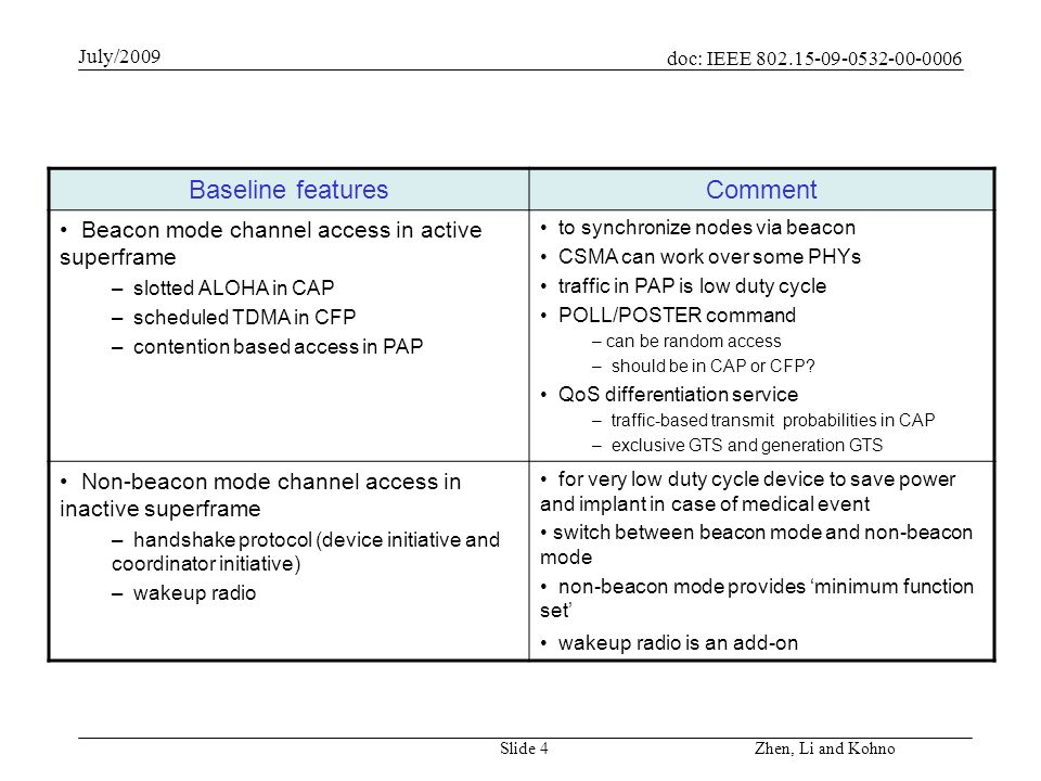 doc: IEEE 802.15-09-0532-00-0006 July/2009 Zhen, Li and Kohno Slide 5 Baseline featuresComment ACK policy – no ACK, imm-ACK, group-ACK – information piggybacked ACK (ip_ACK) delay ACK/ block ACK ip-ACK allows flexible re-transmission Device state and link management – battery description – traffic state – link stability and handover effective description of battery and traffic emergency.