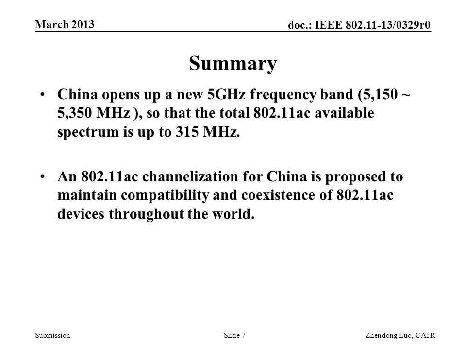 doc.: IEEE 802.11-13/0329r0 Submission Zhendong Luo, CATR March 2013 Summary China opens up a new 5GHz frequency band (5,150 ~ 5,350 MHz ), so that th
